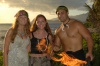 Lauren, Meagan, and a Hot Hawaiin Fire Guy at Paradise Cove